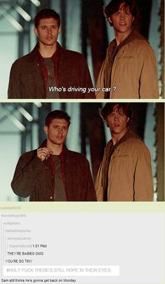 Dean is Super Chicken, Sam is Fred - hope for Monday sure, but he knew the job was dangerous when he took it.