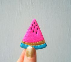 YUMMY little watermelon slice brooch, hand-stitched in Melbourne by theTriangleOfBears