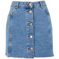TopShop Button Through Denim Skirt (220 RON) ❤ liked on Polyvore featuring skirts, mini skirts, bottoms, topshop, blue skirt, button-front denim skirts, topshop skirts, mini skirt and short skirts