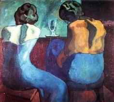 Pablo Picasso, Pierreuses au bar on ArtStack Painting People, Figure Painting, Picasso Blue Period, Picasso Paintings, Picasso Art, Art En Ligne, Portraits, Blue Art, Figurative Art