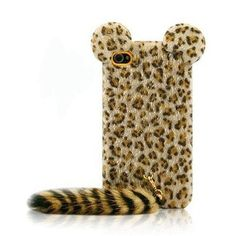 (1) Cute Leopard Print Case With Panther Tail For IPhone 4 U0026 4s On