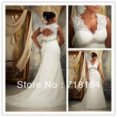 Vintage elegant women's modest plus size wedding dress white lace applique crystal sexy V neck backless vestido de noiva 2014