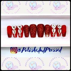 #pressons #pressonnails #nails #shortnails #fakenails #glitternails #blingnails #pinterestnails #blingpressonnails #longnails #longclaws #clawnails #etsyshop #etsysellersofinstagram #etsyseller #etsyfinds #etsy #ebay #springnails #summernails #polishedndpressed #stilettonails #xlnails #extralongnails #coffinnails #longpressons #customnails #freestylenails #fullcoveragenails #rednails #redpressons #redglitternails #glitternails #glitterpressons #glitterpressonnails Bling Nails, Stiletto Nails, Red Nails, Coffin Nails, Short Press On Nails, Short Nails, Red Glitter, Glitter Nails, Claw Nails