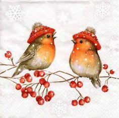 christmas time Serviette Birdie Talk Me - Christmas Bird, Christmas Scenes, Christmas Clipart, Vintage Christmas Cards, Christmas Printables, Christmas Pictures, Xmas Cards, Winter Christmas, Christmas Crafts