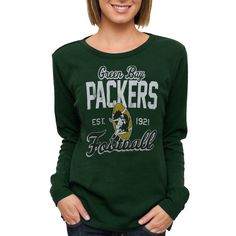 Green Bay Packers Ladies Team Spirit Thermal Long Sleeve T-Shirt - Green