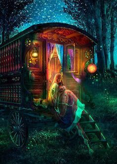 Gypsy Firefly - from Foxfires - The Art of Aimee Stewart - Gallery Gypsy Caravan, Gypsy Wagon, Gypsy Life, Gypsy Soul, Fantasy World, Fantasy Art, Belle Photo, Faeries, Mystic