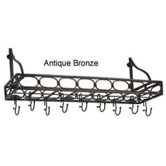 @Overstock - Update your kitchen and dining rooms decor with a hanging storage rackKitchen accessory includes eight hooks to easily store all your cookwareHanging rack is made of medium-gauge steel with different finish optionshttp://www.overstock.com/Home-Garden/Antiqued-Bookshelf-style-8-hook-Pot-Rack/3707487/product.html?CID=214117 $66.99