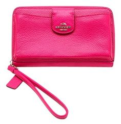 7cb5af886cf99 Coach   Legacy Fuchsia Zip Around Wallet Hot Pink Pebbled Leather Wristlet  60% off retail