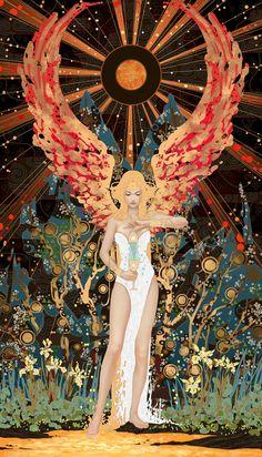 Tarot Card Spreads, Tarot Cards, Temperance Tarot Card, Tarot Card Art, Bel Art, Illustration Art, Illustrations, Arte Sketchbook, Goddess Art