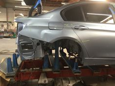 This '14 BMW 328i is getting set up on jigs in order for our tech to replace/repair the rear body panel, quarter panel, the crushed trunk floor, & the deck lid & more. #bmw #bobsmithbmw #bmwfactorytrained #celette #jigs #framerepair #precisionautobody #pabbodyshop
