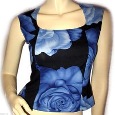 USA MADE Women BLUE BLACK ROSE Floral Flowers Print Squareneck Sleeveless TOP #Blouse #Casual #blue #floral #flowers #fashion #clothing #clothes #women #woman $39.98 ... more tops for sale http://stores.ebay.com/Tropical-FEEL