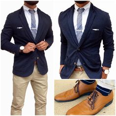 """Today's fit - classic combo  There are some classic fits that just work well no matter what trends come and go. That's how I feel about navy and khaki combos...they are clean, polished and work in any season.  Paired this unlined blazer with a subtle stripes button down and a bold print """"south of the border"""" tie to add a little modern twist to it.  Finishing off in tan, gold and some striped details. I may not be in #nyfwm but I can still try to dress the part."""