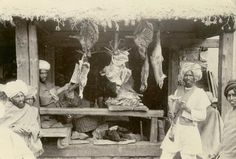 Meat Shop in Market - Kashmir India c1900