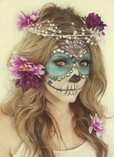 Blue Sugar Skull Makeup | Fancy Blue and White Sugar Skull ...