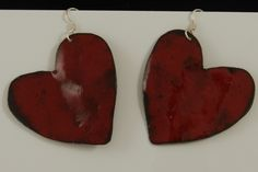 Large Sized Red Valentine Hearts on Sterling Silver ear wires 2488