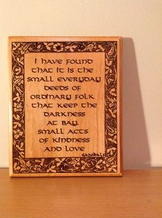 Gandalf, The Hobbit, Lord of the Rings Tolkien Quote, Laser Engraved Plaque