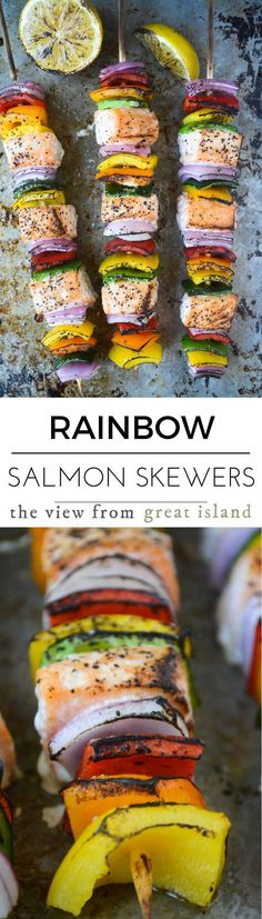 Rainbow Salmon Skewers are easy, healthy, and so fun to make ~ these colorful fish kabobs or gorgeous, too ~ have you eaten the rainbow today? | grilling | fish | seafood | summer | Paleo | Whole 30 | gluten free | low carb |