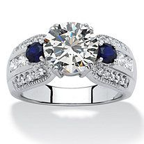 2.84 TCW Marquise-Cut Cubic Zirconia Engagement Anniversary Ring in Platinum over Sterling Silver at PalmBeach Jewelry