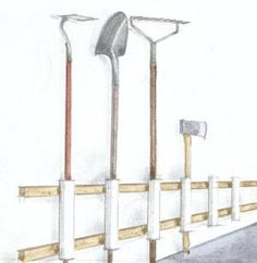 """Garden tool holder    """"Screw 12-inch PVC pipes to two furring strips nailed to a garage wall. Place shovels, rakes, hoes, and other garden tools in the PVC pipes, handle end first. """""""