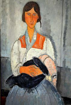 Amedeo Modigliani - Gypsy Woman with Baby - 1919  National Gallery of Art Washington DC