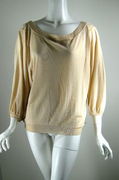 STRENESSE BLUE Tan Cashmere Drapey Cowl Neck 3/4 Sleeve Sweater Blouse Size 6 #StrenesseBlue #CowlNeck