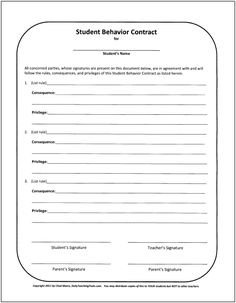 Academic Improvement Contract  Student Portfolio