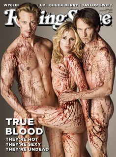 See the September 2, 2010 cover issue of Rolling Stone, featuring the hot-blooded bodies of Alexander SkarsgÃ¥rd, Anna Paquin & Stephen Moyer. The True Blood stars got down & dirty before the lens of the one-&-only Matthew Rolston in our bigbox stage. Hungry for more? Get your hands on an issue when it hits newsstands tomorrow… Rea