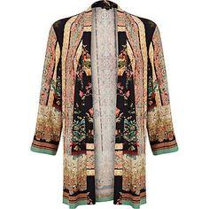 a1cf11e32507 River Island Pink oriental border print kimono - kimonos - tops - women  River Island Fashion