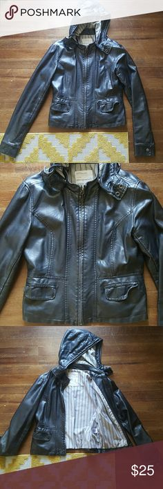 """Faux Leather Bomber Jacket Want a cool, rocker vibe? Here you go!!! :) The hood on this jacket unbuttons for a more """"motorcycle"""" look too!!! This jacket adds a little edge to any look!!! <3 Aeropostale Jackets & Coats"""