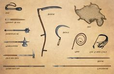 D&D, Pathfinder, and RPG News at Morrus' Unofficial Tabletop RPG News - Do You Know Your Glaive-Guisarme From Your Bohemian Earspoon? Fantasy Weapons, Fantasy Rpg, Medieval Fantasy, Fantasy Warrior, Types Of Swords, Sword Types, Armas Ninja, Ninja Weapons, Tabletop Rpg