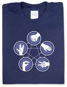 Throw Down:::  For folks too lazy to break out Urban Spoon when deciding on lunch, we offer a superior alternative to Rock Paper Scissors. And if you wear this shirt while making the decision, you can always remember what beats what because we've provided handy arrows.