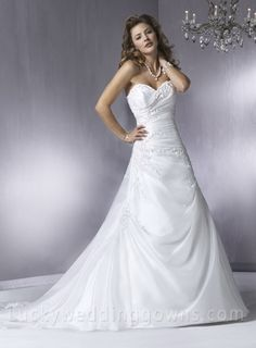 A Line Chapel Train Beading Sweetheart Strapless Wedding Dresses