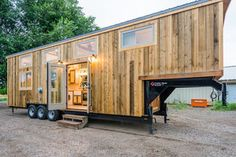 Custom tiny house on wheels. MitchCraft builds beautiful, unique, professional, high-quality homes. Tiny House Builders, Tiny House Nation, Tiny House Trailer, Tiny House On Wheels, Small House Plans, Tiny House Luxury, Tiny House Big Living, Tiny Home Office, Tiny Apartments