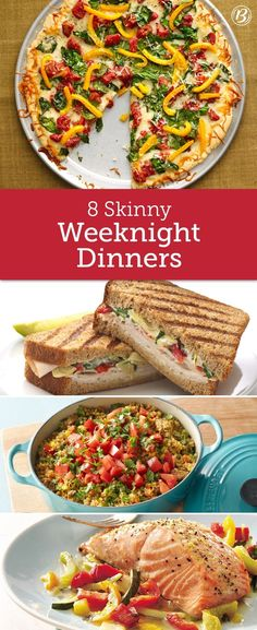 8 Skinny Weeknight Dinners Coming in at fewer than 300 calories each, these quick and easy meals fill you up without weighing you down. Stuffed chicken breasts, light casseroles and cozy soups make delicious weeknight dinners that you won't regret. No Calorie Foods, Low Calorie Recipes, Healthy Dinner Recipes, Diet Recipes, Healthy Snacks, Vegetarian Recipes, Cooking Recipes, Vegetarian Kids, Healthy Instapot Recipes
