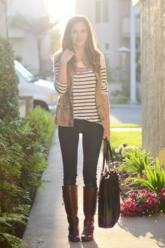 utility vest, striped top, boots outfit