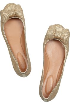 SEE BY CHLOÉ  Sequined leather and canvas ballet flats  $250