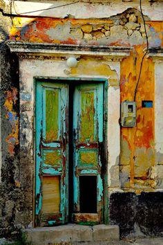 Abandoned Door Rhodes, Greece -photo by Anna Wacker by cristina Cool Doors, Unique Doors, Door Knockers, Door Knobs, Rustic Doors, Painted Doors, Closed Doors, Doorway, Stairways