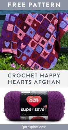 Free crochet pattern using Red Heart Super Saver yarn. Free Happy Hearts Afghan pattern. Stitch this stunning love themed motif afghan for someone special. #yarnspirations #freecrochetpattern #crochetblanket #crochetthrow #crochetafghan #happyhearts #heartsafghan #heartsblanket #heartsthrow #grannysquares #grannysquareafghan