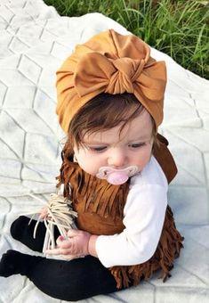 como hacer turbantes para bebes con moño
