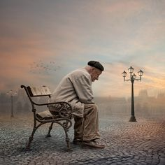 Just before city awake by Caras Ionut, via Old Couples, Couples In Love, Old Couple In Love, Emotional Photos, Pose Reference Photo, Surreal Photos, Homeless Man, Background Pictures, Photography Projects