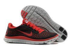 Mens Nike Free 3.0 V4 Black Gym Red Wolf Grey Shoes