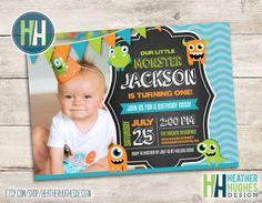monster birthday invite boy first birthday by HeatherHughesDesign