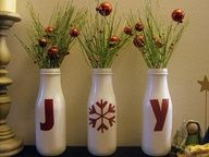 Jars painted white w red writing. Joy peace merry -- wine bottles would be cute…