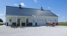 This garage was built for John of Sciota, IL  Special Features:    Morton's Hi-Rib Steel  Porch  Cupolas  Fibersteel  Walk Door  Wainscot  Morton's En...