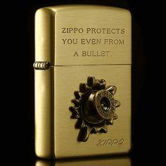 Japanese Antique Brass Inlay Bullet Zippo Lighter