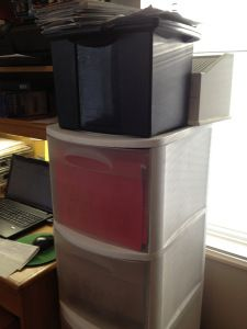 Start with the right containers! Store important files together and keep paperwork organized by filing it as you get it. Lots of simple tips on this site.