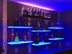 Use our led back bar shelves in your restaurant, bar or lounge to boost the visibility of your highest margin liquor. Our shelves are also eye-catching which makes them great for display products of all sorts! Bar Shelves, Display Shelves, Floating Shelves, Led, Contemporary Shelving, Alcohol Bar, Nightclub Design, Home Bar Designs, Hookah Lounge