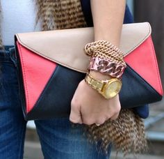 Colorblock clutches at TULIPS
