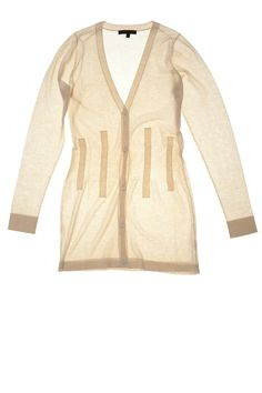 Opale | Fitted-waist long v-neck cardigan | Cotton - Crepe Artic #cavadesoi #cvds #fashion #knitwear #cardigan #cotton #summer // July