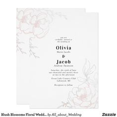 Shop Blush Blossoms Floral Wedding Design Invitation created by All_about_Wedding. Summer Wedding Invitations, Wedding Invitation Samples, Wedding Invitation Design, Zazzle Invitations, Party Invitations, Spring Blooms, Paper Design, Blossoms, Wedding Designs